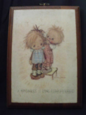 "1971 Springbok/Hallmark Betsey Clark Wooden Plaque ""A Kindness is Long.. 6 x 8"""