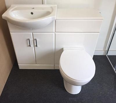 1050mm Gloss White Bathroom Run 550 Vanity Unit With Basin and 500 Toilet WC