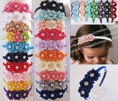 New Girls Triple Satin Flower Alice Hairband Headband Hair Accessories