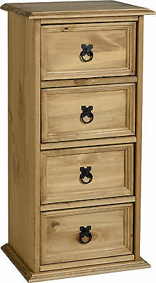 CD Media Storage Unit 4 Drawer In Solid Mexican Pine Corona