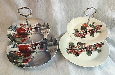 Christmas 2 Tier Cake Stand Robin or Father Christmas China Santa Table Snowman