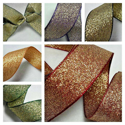 1m  10 15 25mm BERISFORDS RIBBON RAZZLE GOLD  COLOUR SHIMMER LAME LUREX SPARKLY