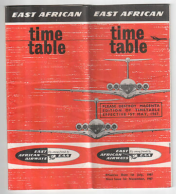 East African Airways Eaa Timetable Summer 1967 Super Vc10