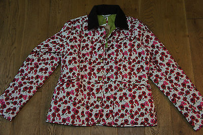 "Barbour Girls ""molly"" Quilted Floral Poppy Jacket Age Xxl 14/15"