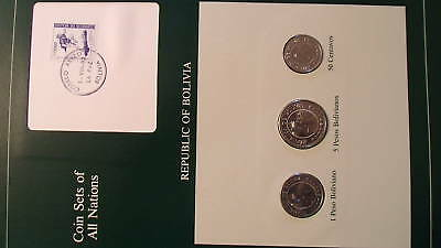 Coin Sets of All Nations Bolivia w/card UNC 5 & 1 Peso 50 centavos 1978
