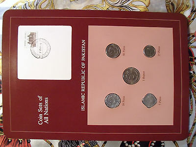 Coin Sets of All Nations Pakistan w/card all 1987 UNC 1 Rupee, 50,25,10,5 Paisa