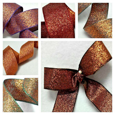 1m  10 15 25mm BERISFORDS RIBBON RAZZLE COPPER COLOUR SHIMMER LAME LUREX SPARKLY