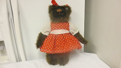 """Older Annette Funicello Collectible 14"""" Bear-Ear Button and Hang Tag-Red Hearts"""