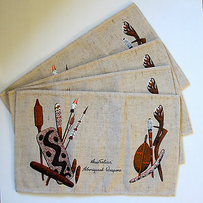 Set of 4 Natural Linen 1970s Place Mats with Aboriginal Weapons Motif