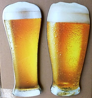 2 x Large Epoxy beer glass wall plaques for Man cave Walls Bar Men's Gift father