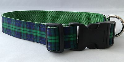 Dog Collar Scottish Black Watch Tartan Unique Funky Pet Supply Handmade Plaid