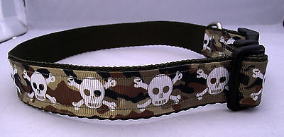 Dog Collar Camouflage with Skull and Cross Bone Unique Funky Pet Supply Handmade
