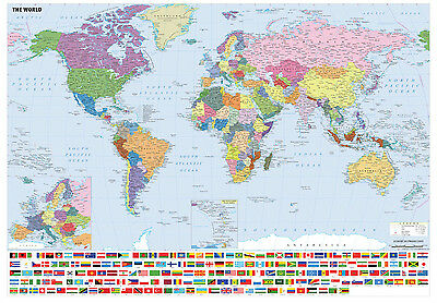 Waterproof Big A1 Size Laminated World Map With Flags Poster Print Wall Art