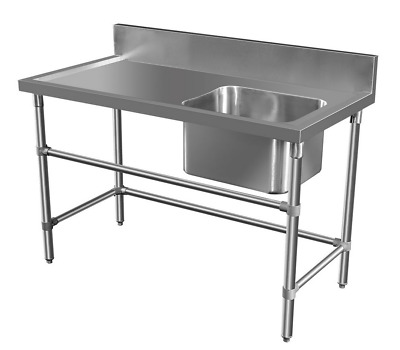 1300x600mm COMMERCIAL SINGLE RIGHT BOWL KITCHEN SINK STAINLESS STEEL BENCH E0