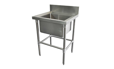 600 x600mm NEW COMMERCIAL SINGLE BOWL KITCHEN SINK #304 STAINLESS STEEL BENCH E0