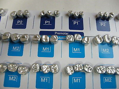 54PCS:DENTAL ALUMINUM TEMPORARY CROWNS (Premolar 6sizes + Molar 12sizes) *3EA