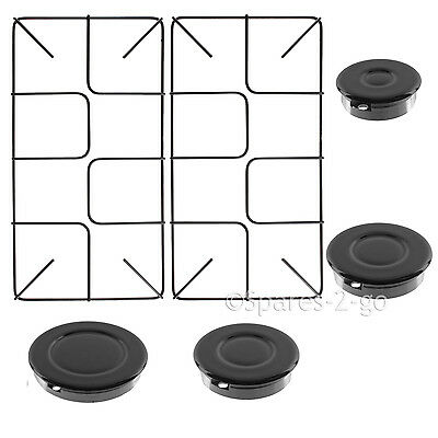 4 x Burner Crown & 2 x Flush Style Pan Support Stand For Belling Cooker Hob