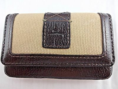 Men's business credit card case brown leather khaki Tommy Bahama