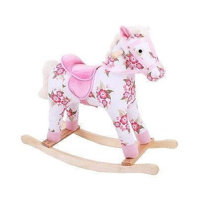 Bigjigs Floral Rocking Horse Pink Beautiful Gift Boxed Fast Delivery