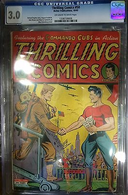 (1945) Thrilling Comics #50! Schomburg Cover! Cgc 3.0! Ow/w Pages!