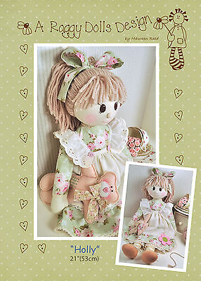 HOLLY - Rag Doll Sewing Craft PATTERN - Shabby Chic Cloth Doll Bear