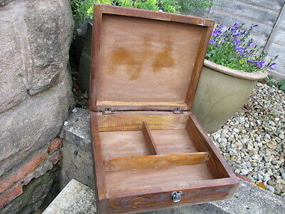 Wooden Box Crate Tub Iron Latch & Hinges Storage Trunk Tub Compartments