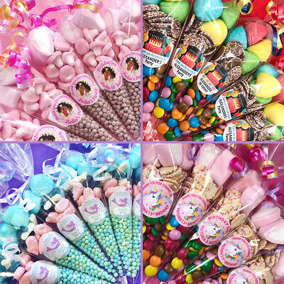 Pre Filled Girls party Sweet Cones / party bags / Mermaid / Unicorn / Disco
