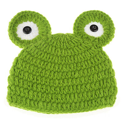 Newborn Baby Infant Crochet Knit Frog Hat Costume Photograph Prop Beanie Caps