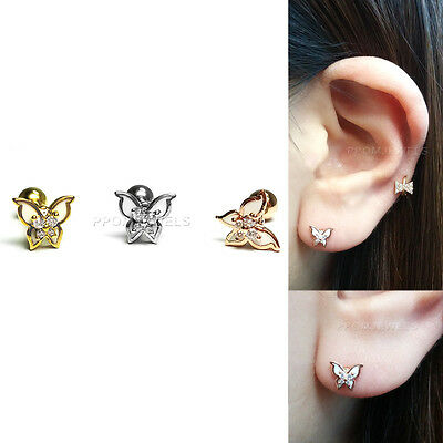 CZ Butterfly Barbell Bar Earring 16G Surgical Body Helix Tragus Ear Piercing
