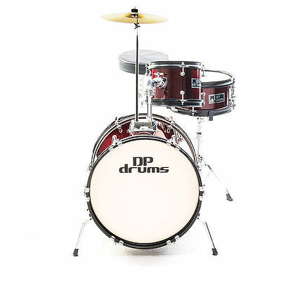 Wine Red 3 Piece Junior Drum Kit Complete Kids Set Cymbals Stool Sticks DP Drums