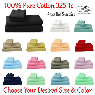 100% Cotton 325 Tc Queen & King Size Plain Dyed 4Pcs Bed Sheet Set - Brand New