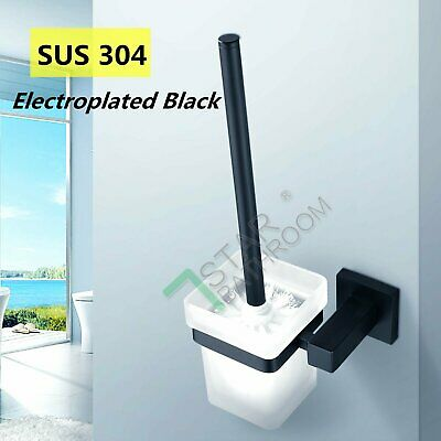 Bathroom Square Toilet Brush Holder 304 Stainless Skidproof Glass Wall Mounted