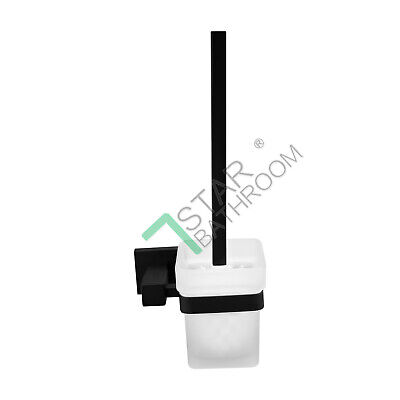 Bathroom Square Wall Mount Toilet Brush Glass Cup Black Stainless Steel Holder