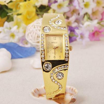New Womens Fashion Bracelet Bangle Watches Wave Rhinestone Crystal Wrist Watch