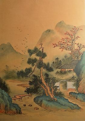 Antique Asian Painting on Silk of Mountains & Home! Framed, Signed, & BEAUTIFUL!