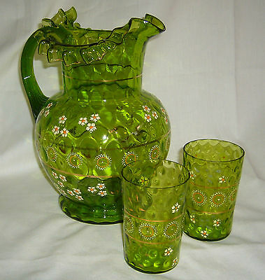 Antique Inverted Thumbprint Hand Painted Decorated Daisy Green Glass Water Set
