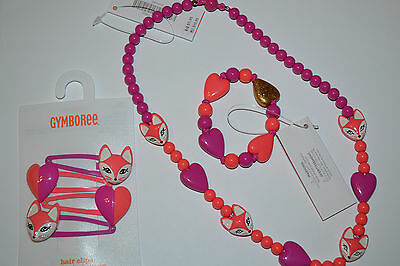 NWT Gymboree Girl Fox & Heart Beaded Necklace Bracelet or Clips Woodland Wonder