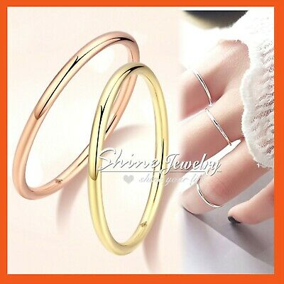 Genuine 925 Sterling Silver Solid 1mm 2mm 4mm Classic Plain Band Wedding Ring