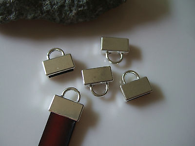 10/50pcs Antique Silver Flat End Caps ,10mm Flat Leather Clasp, leather finding