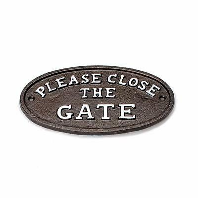 """Black-Brown 7"""" Metal Cast Iron OVAL """"CLOSE THE GATE"""" Wall Sign Plaque"""