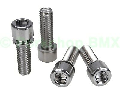 BMX bicycle stem bolts w/ built in washer M8 X 1.25 X 24mm (set of 4) CHROME