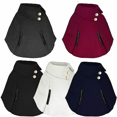 Girls Poncho Button Detail Cape Kids Asymmetrical Winter Coat Sizes 3-14 Years