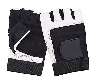 Leather Padded Fingerless Gloves Driving Cycling Gym Biker Wheelchair Rawhide