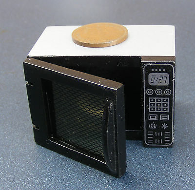 1:12 Scale Black Wooden Microwave Oven Tumdee Dolls House Miniature Kitchen 102