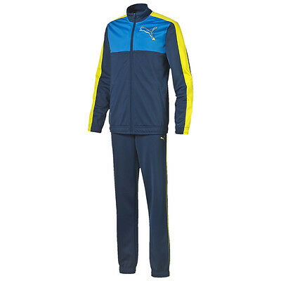 Puma Trainingsanzug FUN No. 1 Graphic Poly Suit Closed Kinder blau - gelb