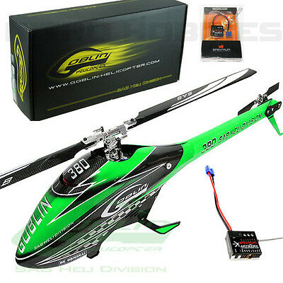 Sab Goblin 380 Flybarless Electric Grn/Carbon Helicopter Kit w/Spektrum AR7300BX