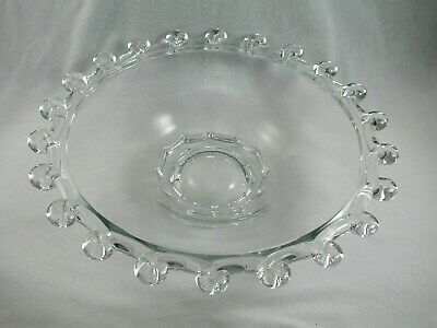 """Heisey LARIAT #1540 Crystal 14"""" FLORAL BOWL Heavy Deep Glass 1942-50"""