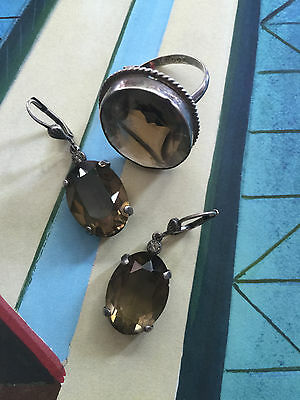 Vtg OLD Art Deco Smokey Quartz Dangling EARRINGS Large Cocktail RING Silver SET