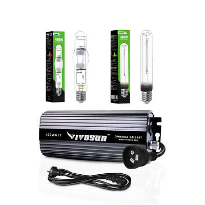 VIVOSUN 400w Watt Dimmable Digital Ballast w/ Grow Light HPS MH Bulb Hydroponics