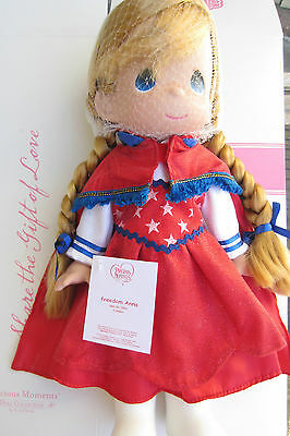 """Disney Precious Moments Signed FREEDOM ANNA 12"""" Doll July 4th Red Frozen LE60"""